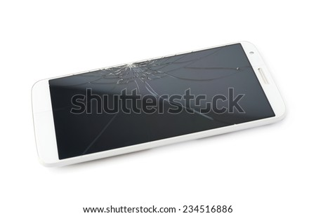 Smart phone with a crecked broken screen isolated over the white background - stock photo