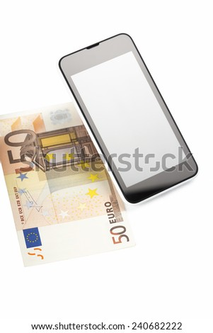 Smart phone with banknote, mobile payment, money transfer - stock photo