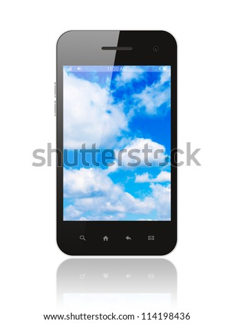 Smart phone with blue sky on white background - stock photo