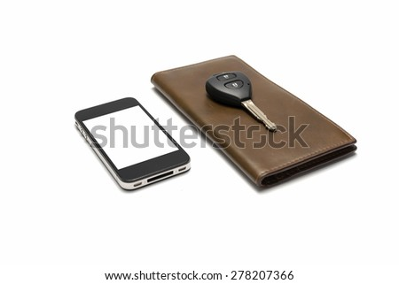 smart phone with car key on brown wallet isolated on white background - stock photo
