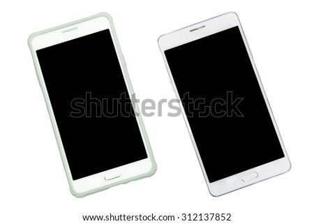 Smart phone with case protection and empty with black isolated screen on with background. Aerial view. - stock photo