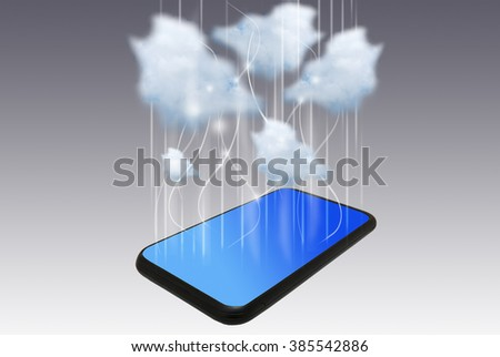 Smart phone with cloud computing concept Smart phone with cloud computing concept  - stock photo
