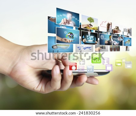 Smart phone with different photos coming