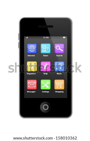 Smart phone with icons isolated on white background.