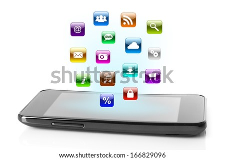 Smart phone with icons on white background   - stock photo
