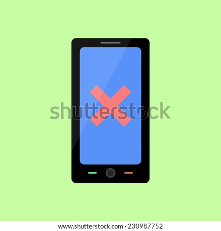 Smart phone with red cross as error icon in flat style - stock photo