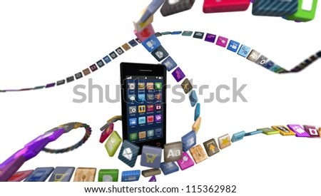 Smart phone with strings of app icons around it.