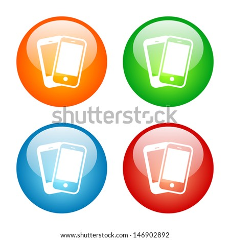 Smart Phones Icon Colorful Glass Icon Set. Raster version, vector also available. - stock photo
