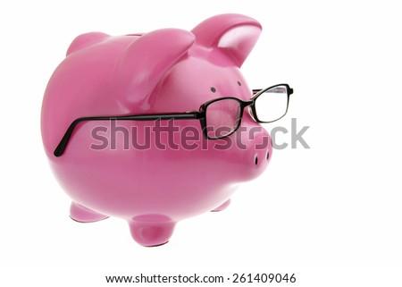 Smart Piggy Bank on White Background - stock photo