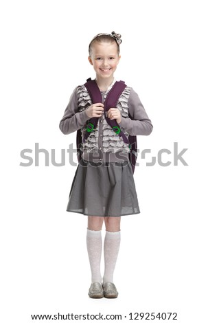 Smart pupil is ready to go to school, isolated, white background - stock photo