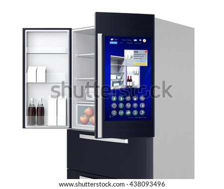 Smart refrigerator concept. User can manage food or purchase new one by touch screen interface. 3D rendering image. - stock photo