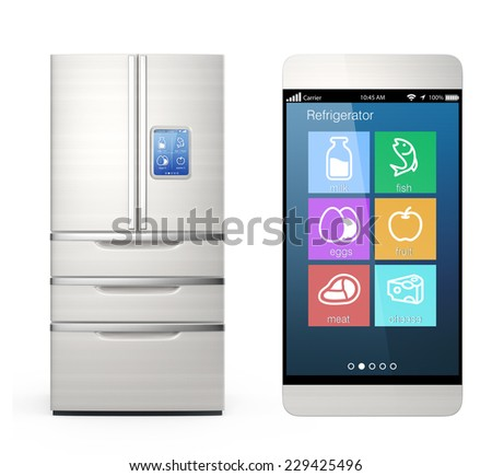 Smart refrigerator monitoring by smart phone concept - stock photo