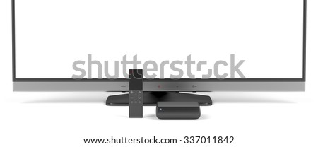 Smart remote control with touch panel, digital media player and widescreen tv - stock photo