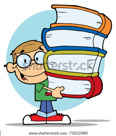 Smart School Boy Carrying A Stack Of Books