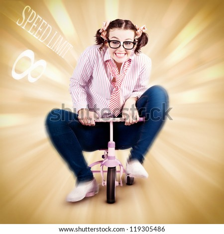 Smart Science Woman Breaking The Speed Of Sound While Riding A Childrens Bike In A Funny Depiction Outsmarting Physics - stock photo