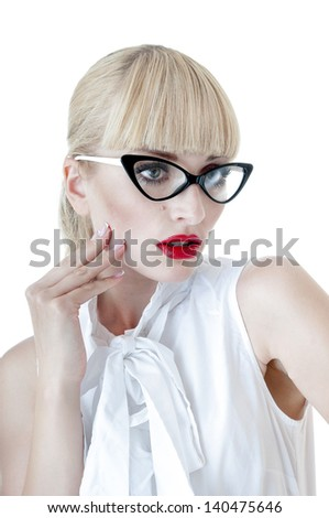 Smart sexy blonde  business women wearing glasses over white background.