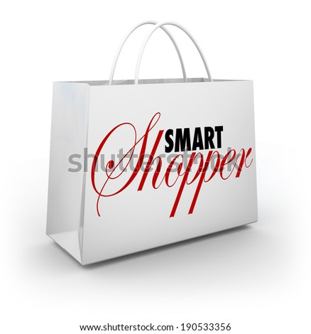 Smart Shopper Words Store Sale Shopping Bag - stock photo