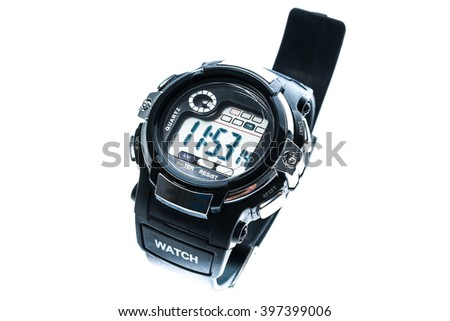 Smart sport black digital wristwatch isolated on a white background. Generic water resistant man watch - stock photo