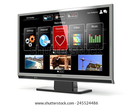 Smart TV flat screen lcd or plasma with web interface isolated on white.Digital broadcasting television. 3d - stock photo