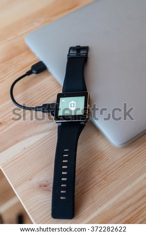 Smart watch charging with micro USB cable