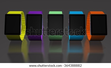 Smart watch. Creative business mobility and modern mobile wearable device technology concept. Color digital smart watch. 3D render  - stock photo