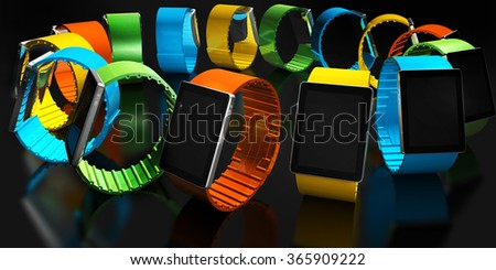 Smart watch. Creative business mobility and modern mobile wearable device technology concept. Color digital smart watch with colorful screen interface. 3D render - stock photo