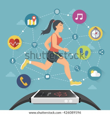 smart watch flat design illustration - fitness and sport concept