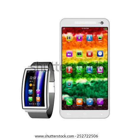 smart watch,  smartphone with colorful screen on white background ,smart watch with smartphone illustration