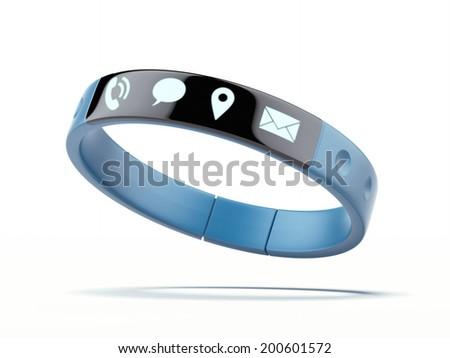 Smart wristband isolated on a white background. - stock photo
