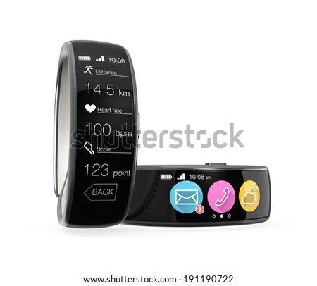 Smart wristbands isolated on white background - stock photo