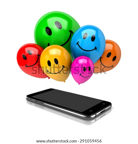 Smartphone and a Bunch of Balloons with Smiling Face on White Background 3D Illustration - stock photo