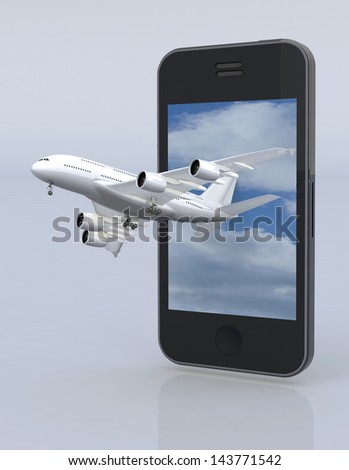 smartphone and airplane, 3d illustration - stock photo