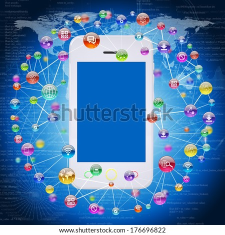 Smartphone and application icons. The concept of software - stock photo