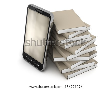 Smartphone and books on white background - stock photo
