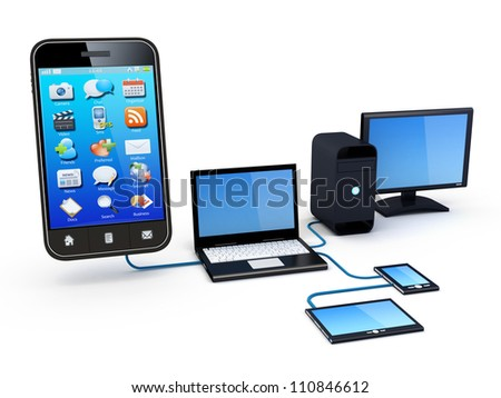 Smartphone and Home Electronic Devices connected to network. Note: All Devices design and all screen interface graphics in this series are designed by the contributor him self. - stock photo