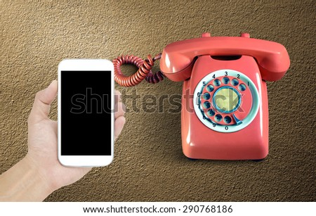 Smartphone and phone vintage - stock photo