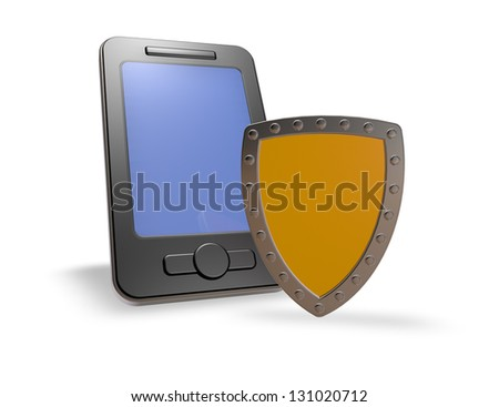 smartphone and shield on white background - 3d illustration