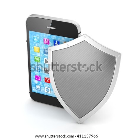 Smartphone and shield on white, security concept. 3d rendering.