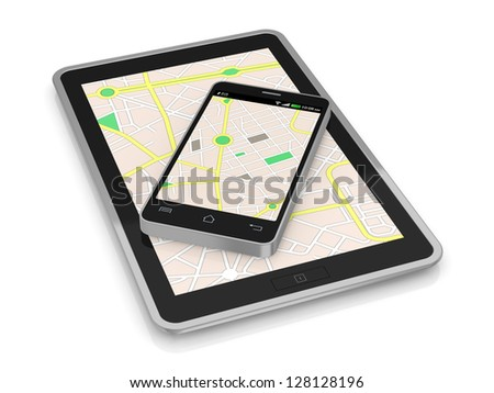 smartphone and tablet pc with a gps map (3d render)