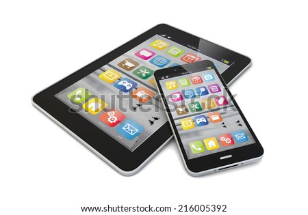 smartphone and tablet render together - stock photo