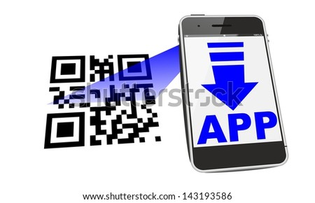 smartphone app download with QR code scan - stock photo