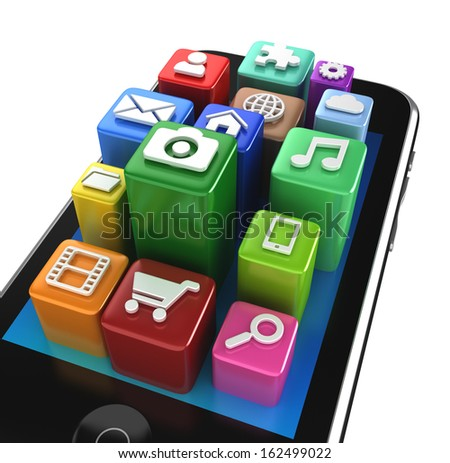Smartphone App icons - isolated on white - stock photo