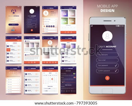 Smartphone Application Design Templates Set Flat Stock Illustration - Mobile app design templates