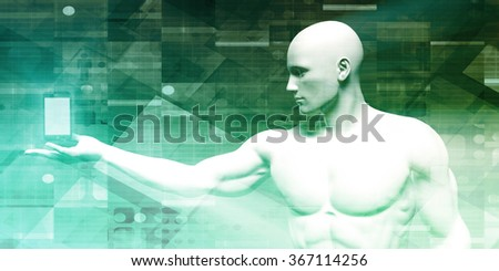 Smartphone Apps in a System Network Media - stock photo