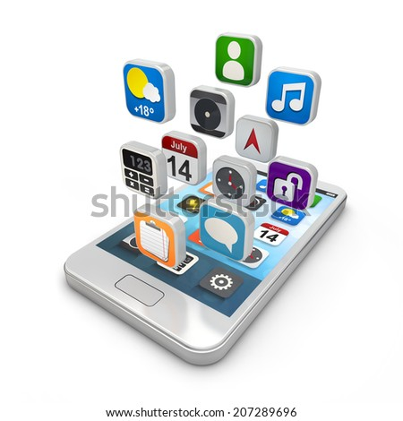 Smartphone apps, touchscreen smartphone with application icons on isolated white background