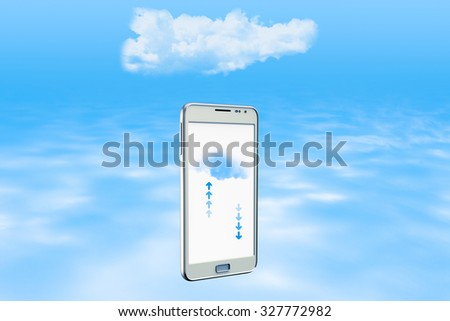 Smartphone backing up information on the cloud - stock photo