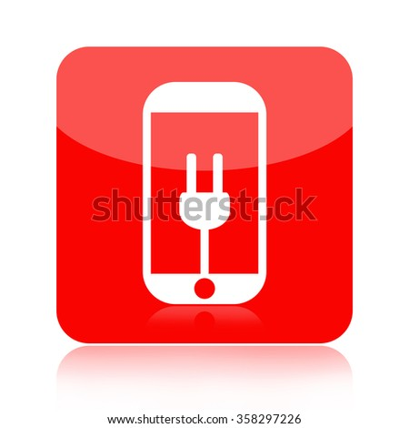 Smartphone battery charge icon isolated on white background - stock photo
