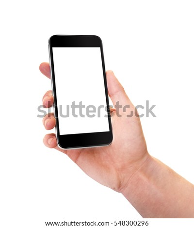 Smartphone black with blank screen in right hand. Phone in little angled position - isolaten on white background