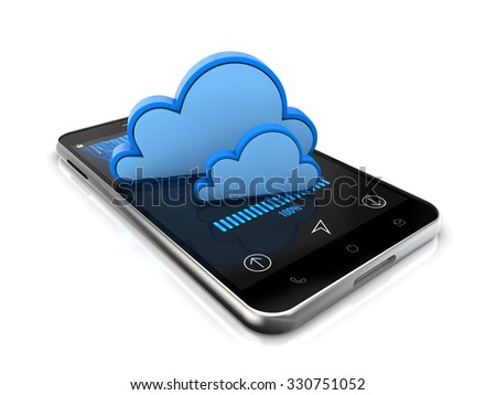 smartphone cloud system data safety isolated white background with clipping path