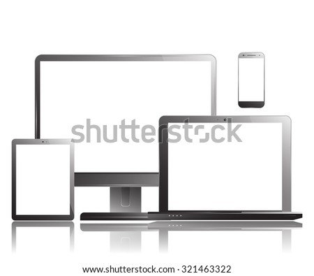 Smartphone Computer Monitor Tablet Laptop Set. Realistic design.